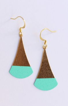 Turquoise Color Dipped Flat Brass Dangle Earrings