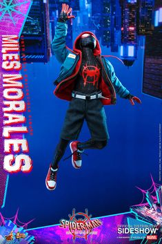 Hot Toys scale Miles Morales [Spider-Man: Into the Spider-Verse] Marvel Legends, Miles Morales Movie, Red And Black Spider, Joker Character, X Men Costumes, Spiderman Art, Man Movies, Spider Verse, Black Suits