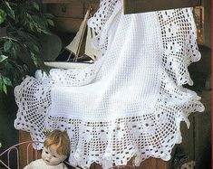 Items similar to White crochet christening baptism baby blanket with fancy edge on Etsy Newborn Gifts, Baby Gifts, Sport Weight Yarn, Baby Christening, Baby Boy Blankets, Afghan Crochet Patterns, Blanket Patterns, Thread Crochet, Baby Blanket Crochet