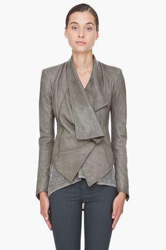 HELMUT LANG Grey Leather Jacket