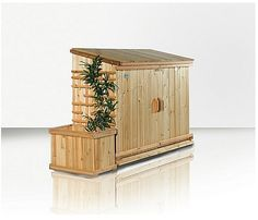 i like the trellis and pot on the side- Outdoor Recycling: Storage Solutions Garbage Can Storage, Garbage Shed, Garbage Recycling, Recycling Storage, Storage Bins, Storage Solutions, Storage Sheds, Hide Trash Cans, Outdoor Trash Cans
