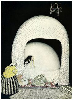 """Kay Nielsen, illustration to The Widow's Son, from """"East of the Sun, West of the Moon"""". """"And this time she whisked off the wig; and there lay the lad, so lovely, and white and red, just as the Princess had seen him in the morning sun."""""""