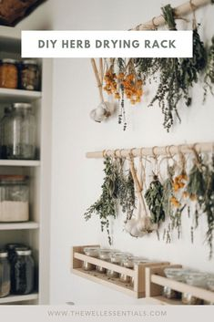Simple DIY Herb Drying Rack For Your Garden Herbs - - Learn how to dry your own herbs with this simple wooden herb drying rack. The perfect homemade drying rack for herbs from your summer garden harvest. Herb Drying Racks, Drying Herbs, Herb Rack, Wooden Drying Rack, Hanging Drying Rack, Sweet Home, Diy Casa, Sustainable Living, Sustainable Fabrics