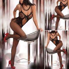 Black fishnet body stocking One size fits most Intimates & Sleepwear