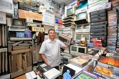 Computer enthusiast Clinton Rowe in one of the several rooms used in his Dunedin home to house his retro electronics collection.