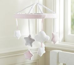 Pink Stars and Clouds Crib Mobile #pbkids