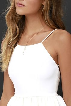 Chic Ivory Skater Dress – Backless Homecoming Dress $56.00