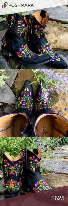 """Old Gringo Black Sora If you like that Badbass & Flowers, Leather & Lace, Hurts so Good, Sweet n Salty, OK, they get it, Lori, Geez! Then you are gonna love these boots! These aren't the boots I left my husband for, I don't think they were out then. 8"""" Shaft, Long, Snip Toe, the """"Used, Weathered Look Heel, 1.25"""", Leather Sole, All fliers are embroidered on! No paint or transfers here! Old Gringo Shoes Ankle Boots & Booties"""