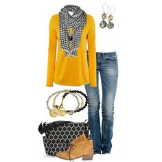 """""""Untitled by simple-wardrobe on Fashion Mode, Look Fashion, Fashion Outfits, Fall Fashion, Fashion Shoes, Fall Outfits, Casual Outfits, Yellow Outfits, Outfit Winter"""