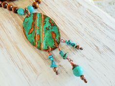 Copper amulet, gems, boho, hippie, necklace, Kupfer-Amulett, Türkise Achate, oxidiert, gehämmert