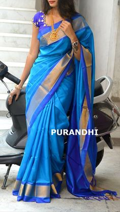 Uppada pattu saree comes with contrast plain Blouse piece. Blouse work as in image available with additional cost. Best Blouse Designs, Half Saree Designs, Bridal Blouse Designs, Fancy Sarees Party Wear, Latest Silk Sarees, Bollywood Designer Sarees, Pattu Saree Blouse Designs, Sleeves Designs For Dresses, Saree Trends