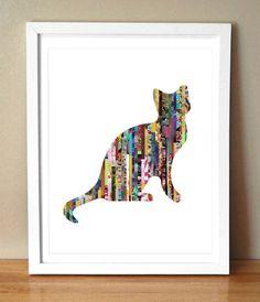 """Giclée-Kunstdruck – """"The Cat's Meow"""" – Verschiedene Cat Silhouette Magazine Strip Art – Streifentiere – Magazine Recycled Magazine Crafts, Recycled Magazines, Recycled Art, Recycled Jewelry, Journal D'art, Cat Magazine, Newspaper Art, Arts And Crafts, Paper Crafts"""