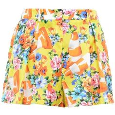 Moschino Shorts (1.570 RON) ❤ liked on Polyvore featuring shorts, yellow, colorful shorts, multi colored shorts, print shorts, patterned shorts and mid rise shorts