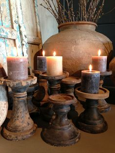 Rustic candles and ceramic pot and holders Candle Lanterns, Diy Candles, Rustic Candles, My Home Design, Home Interior Design, Bougie Partylite, Chandeliers, Vibeke Design, Candle Making