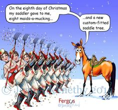 Eighth Day of Christmas Fergus Funny Horse Memes, Funny Horses, Funny Animals, Horse Humor, Funny Quotes, Equestrian Quotes, Equestrian Problems, Horse Quotes, Horse Sayings
