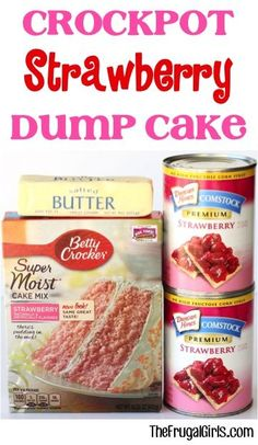 Now here's an easy dessert… just dump it in and walk away! 😉 Go grab your Slo… Now here's an easy dessert… just dump it in and walk away!] Go grab your Slow Cooker… you're going to love this Crockpot Strawberry Dump Cake Recipe! Slow Cooker Desserts, Crock Pot Desserts, Köstliche Desserts, Cooker Recipes, Crockpot Dessert Recipes, Cake In A Crockpot, Vegan Recipes, Slow Cooker Cake, Skillet Recipes