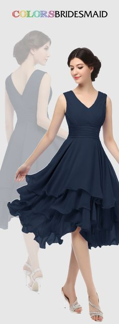 This short chiffon navy blue bridesmaid dress with tiered ruffles skirt is sold under 100. Custom made to all sizes. Buy inexpensive bridesmaid dress at colorsbridesmaid.com to attend a spring or summer wedding.
