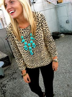 """leopard and turqoise-LOVE...and I bought the neckace and then thought """"what was I thinking?""""  could i pull this off??"""
