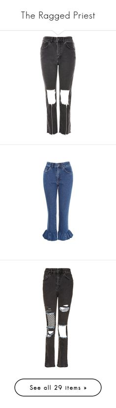 """The Ragged Priest"" by rizqia97 ❤ liked on Polyvore featuring jeans, grey, high waisted ripped jeans, high waisted jeans, cut out jeans, destructed jeans, ripped jeans, indigo, blue jeans and indigo jeans"