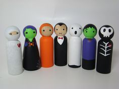 Halloween Monster Mash Set Hand Painted Wood Peg Dolls by Pegged