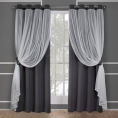 Amalgamated Textiles Catarina Sand (Brown) Layered Solid Blackout and Sheer Grommet Top Window Curtain Exclusive Home Catarina Layered Solid Blackout and Sheer Grommet Top Curtain Panel Pair