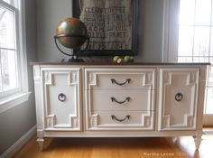 Hollywood Regency credenza gets new life with stain and white paint at MarthaLeoneDesign.com