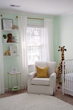 Baby Gaither's Nursery on the Delightfully Chic Blog The Animal Print Shop Plush Melissa and Doug Giraffe mint green nursery