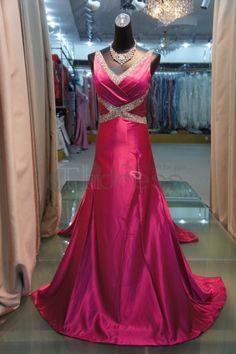 Abiti da Sera Eleganti-nuovo v-collo rosa abiti da sera eleganti lunghezza della coda