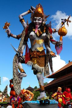 Bhatari Durga (Kali) is the wrathful form of Durga found in Bali, closely associated with magico-religious practices, ghosts, demons, and the graveyard. She is propitiated in order to guard against malefic spirits and sorcery, she is not seen as the Durga-Kali of Bengali devotional Shakta religion in that she is feared rather than loved, but her genesis relates to the same principal of being equal and a reflection of the mother deity Uma-Pavarti the sky and vegetation mother.