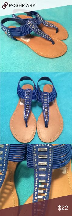 """Madden Girl-size 6.5, cobalt blue, crystal sandals Madden Girl-size 6.5, cobalt blue, crystal sandals in the style """"Triixie"""". Gorgeous rhinestones on top o foot at around ankle area. Gentlybworn, but in excellent condition overall. No missing crystals. Some sticker residue near heel area. Box not included. Madden Girl Shoes Sandals"""