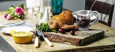 Roast duck crown with a cherry and red wine sauce and dauphinoise potatoes. Dinner Entrees, Dinner Recipes, Great Roasts, Duck Soup, Cherry Sauce, Duck Confit, Roast Duck, Cherry Recipes, Wine Sauce