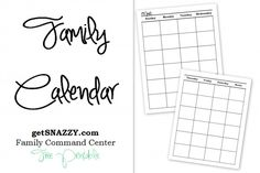 Blank Family Calendar - Family Command Center - FREE Printable - getSNAZZY.com