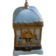 Adorable Porcelain Little Birdie Bird Cage Hinged Trinket Box