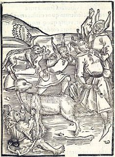 """""""Of Borrowing"""". This woodcut is attributed to the artist the Gnad-Her-Meister. It is an illustration from the book Stultifera navis (Ship of Fools) by Sebastian Brant, published by Johann Bergmann in Basel in 1498."""