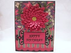 Happy Birthday Zinnia Card with Cricut Cartridge Recipe