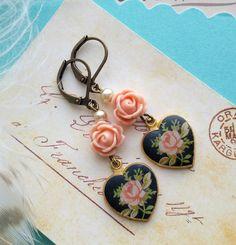 limoges heart earrings, peach flowers, pearls, shabby chic jewelry, romantic, black enameled, dainty, gift for her, fab flea market by FabFleaMarket on Etsy
