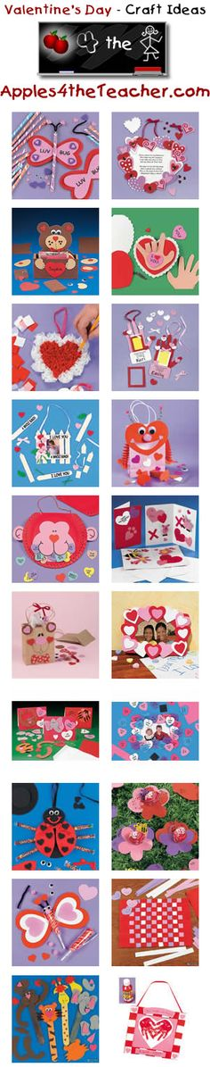 Fun Valentines Day crafts for kids - Valentine's Day craft ideas for children.   http://www.apples4theteacher.com/holidays/valentines-day/kids-crafts/