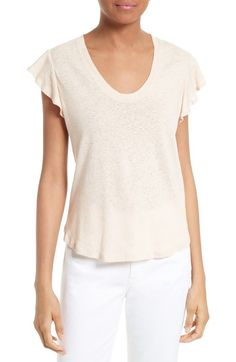 Free shipping and returns on Rebecca Taylor Lace Trim Linen Jersey Tee at Nordstrom.com. A mix of pintucked pleats, lace and ladder-stitch insets in front, coupled with a ruffled peplum hem, puts a sweet spin on a short-sleeve tee of soft linen jersey.