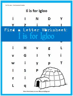letter of the week - alphabet recognition - find the letter I is for Igloo