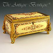 Antique French Gilt Bronze Jewelry Casket Box, Raised Enameled Jewels / Kiln Fired Enamel on Copper Plaques