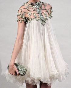Marchesa Spring 2011 RTW Beaded Neckline Chiffon Dress Profile Photo