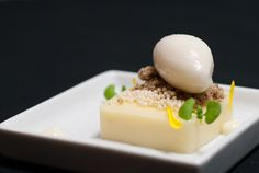 Japanese Yuzu Yart with Lychee Sorbet, Coffee Crumble, Condensed Milk Coulis, and Puffed Rice - Pastry Chef Renae Herzog
