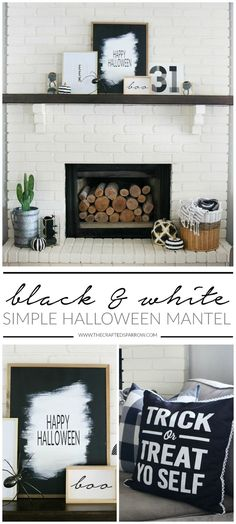 Halloween decor doesn't need to be spooky or traditional. This Simple Black & White Halloween Mantel Decor is easy to create all while making a statement. Farmhouse Side Table, Farmhouse Kitchen Decor, Halloween Mantel, Vintage Halloween, Halloween Crafts, Halloween Ideas, Halloween Decorations, Black White Halloween, Cute Dorm Rooms
