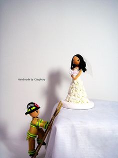 Firefighter customized wedding cake topper
