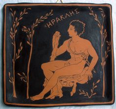 Terracotta tile. Heracles (Hercules) sitting among olive trees with the club. Created and painted by hand with hot color, engobe. - pinned by pin4etsy.com