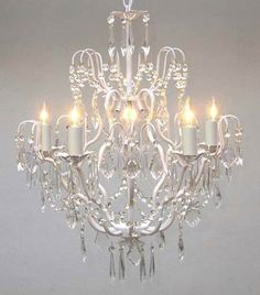 "GO-A7-WHITE/C/3033/5 White Wrought Iron Crystal Chandelier Chandeliers Lighting H27"" x W21"" $125.00"