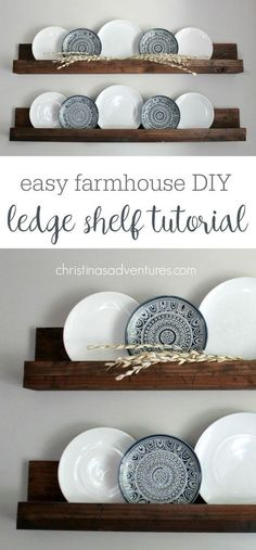These farmhouse style shelves will take about 30 minutes & less than $20! Such a versatile DIY project - decor can be easily changed out every season!