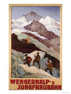 Wengernalp & Jungfraubahn, circa 1900 Prints by Anton Reckziegel Travel Ads, Travel And Tourism, Travel Photos, Evian Les Bains, Vintage Ski Posters, Tourism Poster, Art Images, Illustrations, Prints