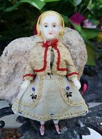 "ANTIQUE BISQUE PORCELAIN CHINA HEAD DOLL MYSTERY DOLL? 4.5"" FULLY MOLDED"