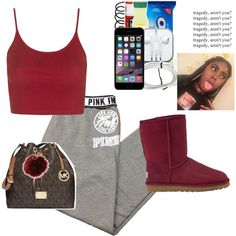 Rq💨 by yungjazzyhoe on Polyvore featuring polyvore, Topshop, Victoria's Secret, UGG Australia, MICHAEL Michael Kors, Charlotte Russe, fashion, style and clothing